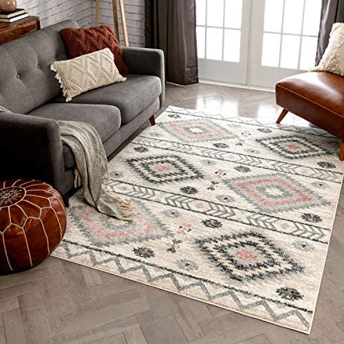 Well Woven Prato Pink Grey Southwestern Area Rug 8×11 7'10″ x 10'6″