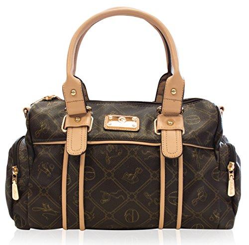 Damentasche Umhängetasche Handtasche Kunst Leder von Giulia Pieralli *sehr beliebt* - Modell: 26119E Farbe: Braun EL7VHf1IKA