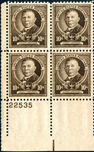 #873 Booker T Washington Plate Block of 4 Stamps (Scott #873) ()