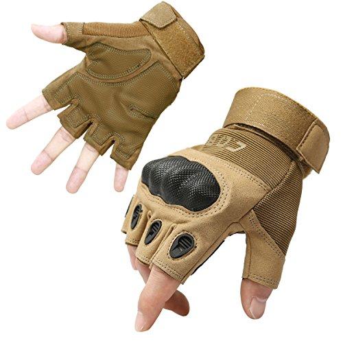 CQB Outdoor Tactical Gloves Riding Cycling Carbon Fiber Hard Knuckle Half Finger Armor Men's Gloves (Fingerless Sand, XL)