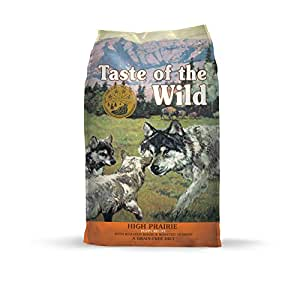 Taste of the Wild High Prairie Grain Free Protein Real Meat Recipe Natural Dry Puppy Food with Real Roasted Venison & Bison 30lb