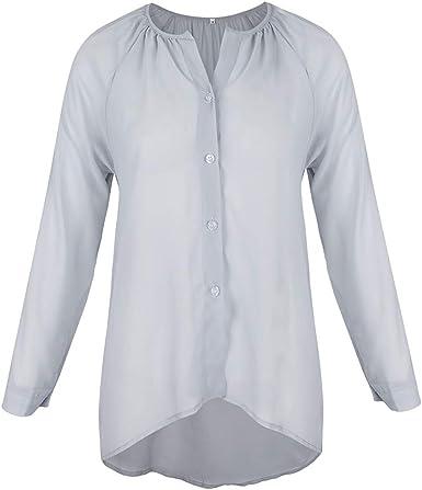 Sharplace Camisa De Gasa Con Cuello En V De Manga Larga Para ...