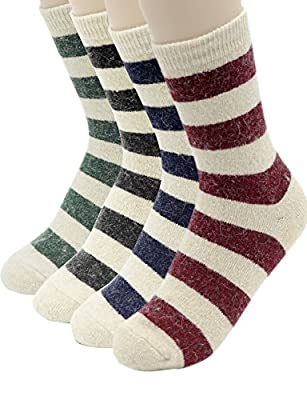 Cosynook Women's Premium Winter 4 Pairs Wool And Cotton Blend Crew Socks Collection