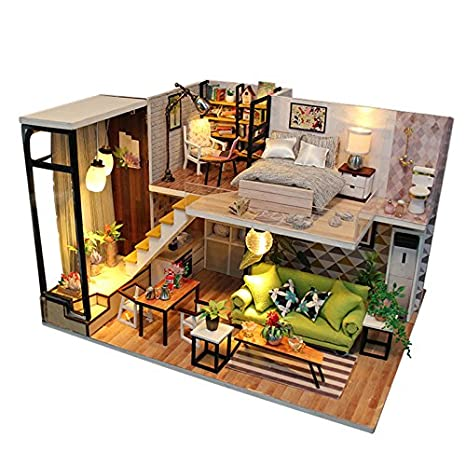 Sport Fitness DIY Doll House Miniature Dollhouse With Furnitures Wooden  House Toys For Children Christmas Gift