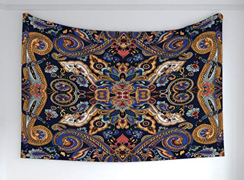 Ambesonne Paisley Tapestry, Historical Moroccan Florets Slavic Effects Heritage Design, Fabric Wall Hanging Decor Bedroom Living Room Dorm, 60 W X 40 L Inches, Royal Blue Sand Brown (Moroccan Bedroom)