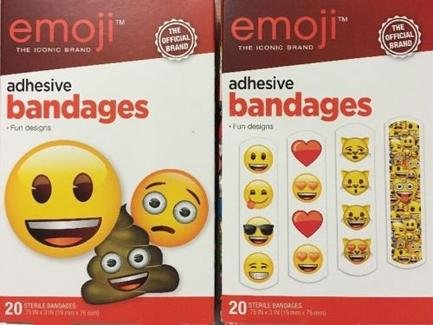 Emoji The Iconic Brand Adhesive Bandages Fun Designs The Official Brand (Double Pack) 40 Sterile Bandages Aso Adhesive