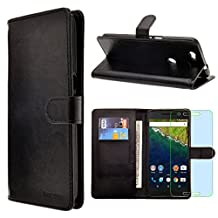 HuaweiGoogle Nexus 6P / Nexus6(2015) / Bullhead / Angler Case, INNOVAA Premium Leather Wallet Case with STAND Flip Cover W/ Free Screen Protector & Touch Screen Stylus Pen - Black