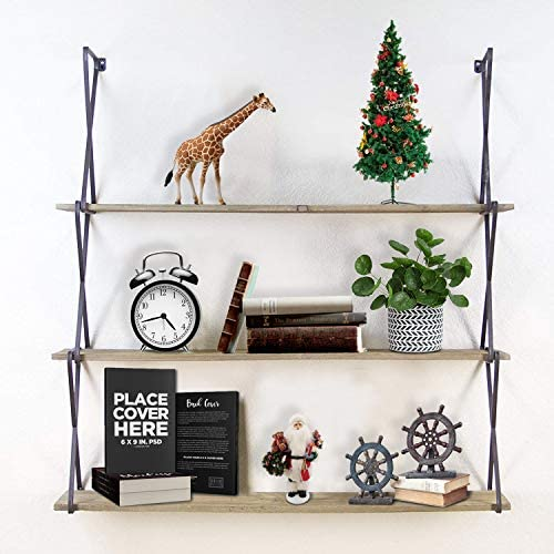 T-SIGN Floating Shelves Wall Mounted, 3-Tier Wall Shelves, Rustic Wood Hanging Book Shelves for Bedroom, Bathroom, Living Room, Kitchen, Office Storage and Display, with Gloves, Carbonized Black