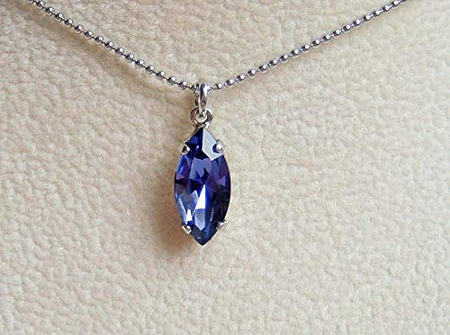 Blue Purple Marquise Crystal Drop Pendant 18 Inch Necklace Simulated Tanzanite December Birthstone Gift Idea SS