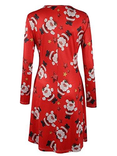 G Largas Vestido Calabaza Impresión Camiseta Niñas Navidad Minetom Mujer Tipo Nieve Mangas de A Line Dress Swing para Ropa Uwxqgz