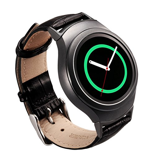 Gear S2 Band - Valkit Genuine Leather Smart Watch Bands, Soft Replacement Bracelet Wristband Strap, Crocodile Pattern leather Bands for Samsung Gear S2 with Black Adapter