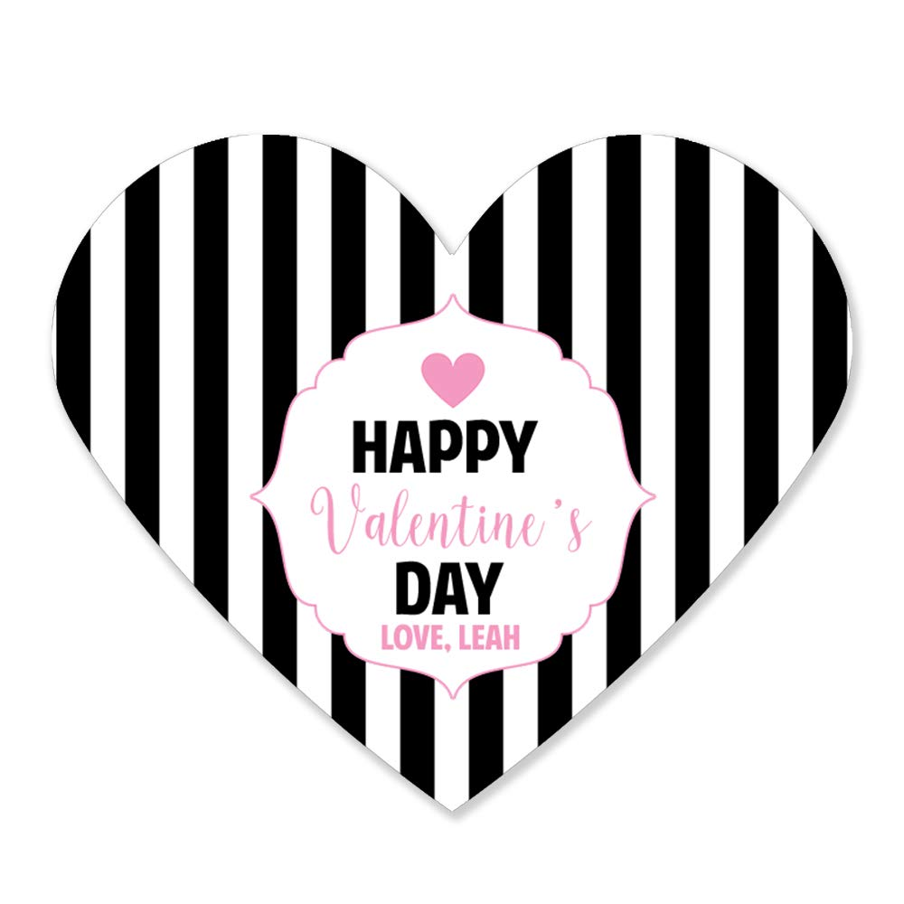 Pink and Black Striped Valentines Day Heart Glossy Stickers