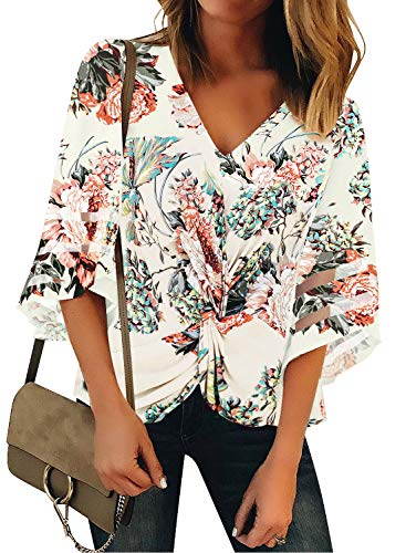 (LookbookStore Women's Smmer Loose Vneck Tops Casual Twist Knot Shirt Mesh Panel 3/4 Bell Sleeve Blouse Floral Printed Ivory Size Small)
