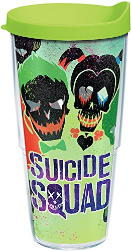 Tervis 1239066 DC Comics - Suicide Squad - Skulls Insulated Tumbler with Wrap and Lime Green Lid 24oz Clear]()