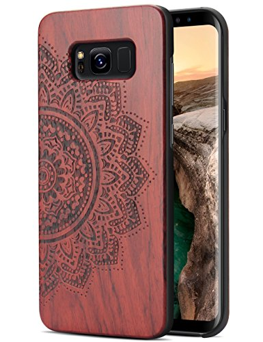Galaxy S8 Case Wood, Handmade Wood Carving Sunflower Design Shockproof Hybrid High Impact Hard Bumper Case for Galaxy S8