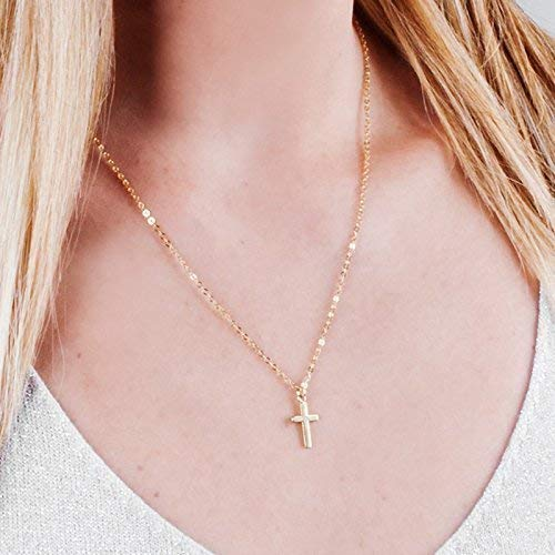 Minimalist Gold Cross Necklace - 16 inch + 2 inch extending chain - Designer Handmade Christian Gift ()