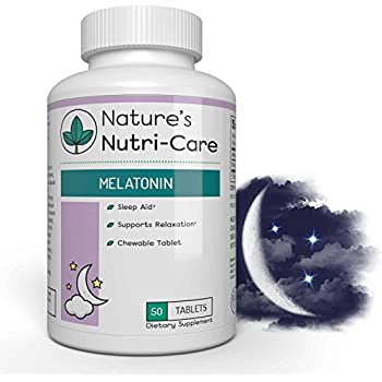 Natures Nutri-Care Melatonin Chewable Sleep Aid - 3mg - 50 Tablets - Improve Sleep Quality and Jet Lag - Made in USA, 50