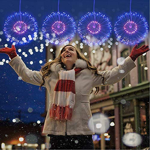 Inshere 120 LED Copper Wire Firework Lights Starburst Light with Remote,8 Modes String Fairy Lights Waterproof,Decorative Hanging Lights for Christmas, Home, Indoor Outdoor (2 Pack) (Multicolor)
