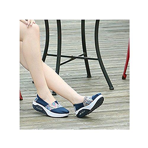 Fashion Sneakers Dames Canvas Sportief Goed Leven Ademend Lichtgewicht Atletische Gymschoenen Van Btrada Blauw