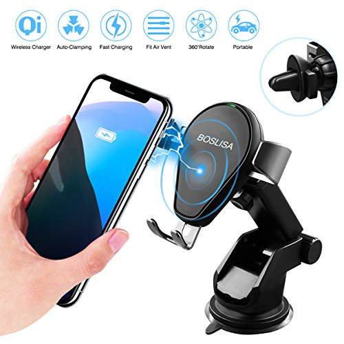 Holder Wireless - Wireless Car Charger, BOSLISA Qi Fast Wireless Charging Car Mount Phone Holder for iPhone X, 8/8 Plus, Samsung Galaxy S8/S8 Plus/S7/S7 edge/S6 edge Plus/Note 8/5, other Qi Enabled Devices