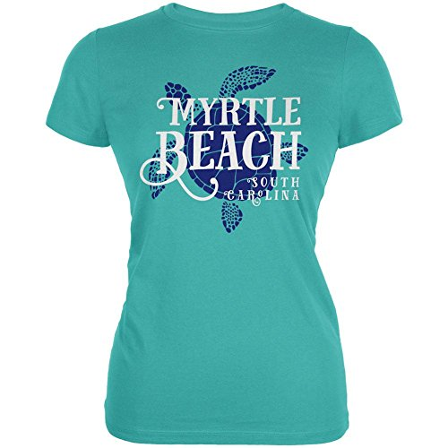 Summer Sun Sea Turtle Myrtle Beach Juniors Soft T Shirt Teal - Myrtle Beach Women