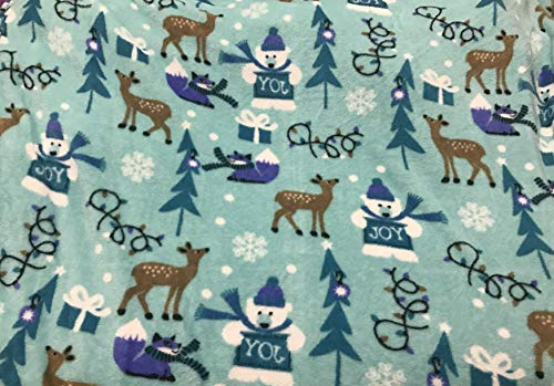 Toddler Flannel Throw Blankets Baby Super Plush Blanket,Blue Deer Snowman,50 x 60 inchs