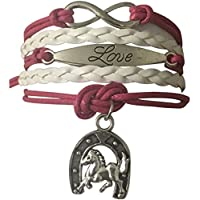 Infinity Collection Girls Horse Charm Bracelet, Horse Lovers Equestrian Jewelry For Women and Girls