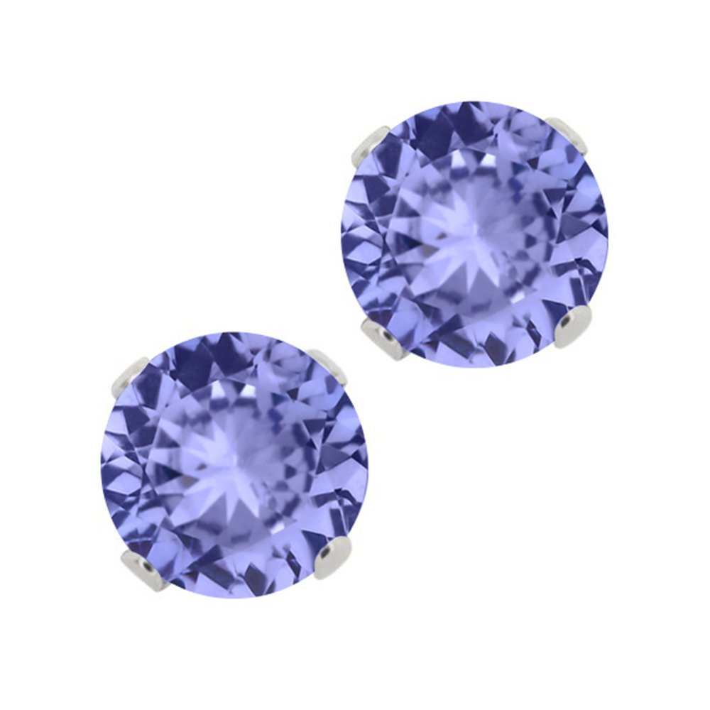 1.97 Ct Round Blue Tanzanite Sterling Silver Pendant and Earrings Set by Gem Stone King (Image #3)