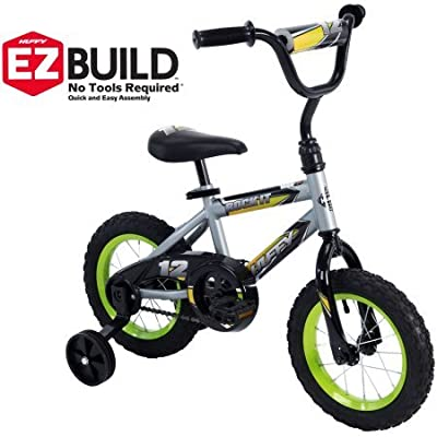"Cool Racing Fun,Comfortable and Easy to Assemble Huffy 12"" Rock It Boys' EZ Build Bike,Comes with an Easy-to-Use Coaster Brake and Wide Training Wheels,Silver: Sports & Outdoors"
