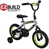 Cool Racing Fun,Comfortable and Easy to Assemble Huffy 12'' Rock It Boys' EZ Build Bike,Comes with an Easy-to-Use Coaster Brake and Wide Training Wheels,Silver