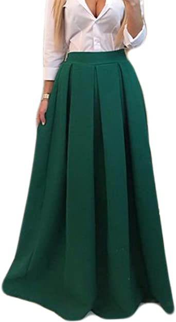 Tkria Moda Mujer Falda Larga Elegante Cintura Elástica Boho Maxi ...