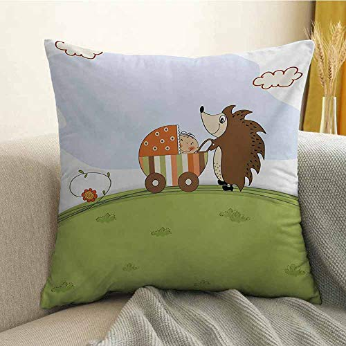 Funny Pillowcase Hug Pillowcase Cushion Pillow Baby Shower Theme A Hedgehog Pushing a Stroller with Baby Illustration Anti-Wrinkle Fading Anti-fouling W16 x L16 Inch Baby Blue Pistachio Green