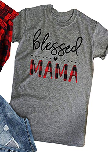 Amazing Speed Womens Blessed Mama Letters Print O-Neck Short Sleeve Casual T-Shirt