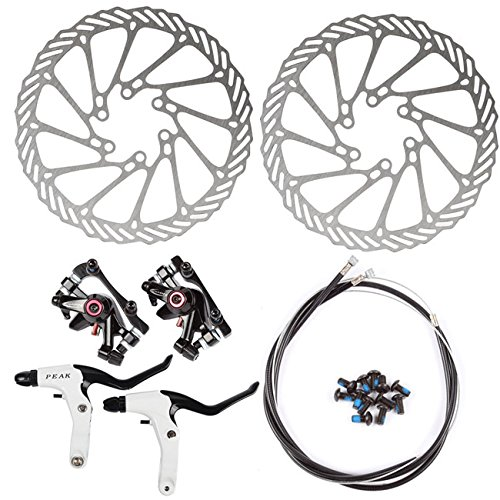 Kit InsReve NV-5 G3 Disc Brake Sets Front and Rear 160mm Caliper Rotor BB5 BB7 BB-5 BB-7, with Handle, Black (Bicycle Disc Brake Kit)