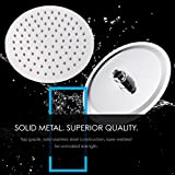 LumoSpa Rainfall Shower Head - Heavy Duty Solid Stainless Steel Unit - Luxury High Pressure Replacement Set for Bathroom - Modern Polished Chrome Large Round Rainhead - Universal Wall or Ceiling Mount