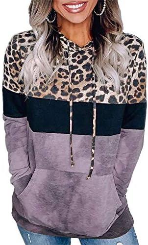 Ekaliy Women Fashion Leopard Hoodie Sweatshirts Pullover Drawstring Long Sleeve Tops with Pockets