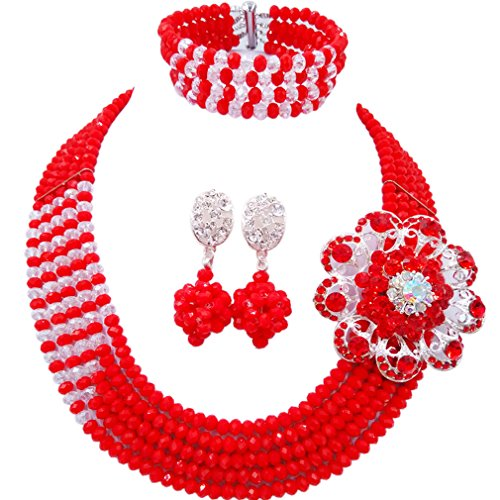 aczuv 5 Rows Nigerian Beads Jewelry Set African Beads Necklace Wedding Party Jewelry Sets (Red Transparent)