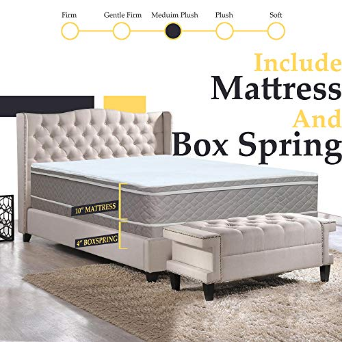 """Full Assembled Orthopedic Mattress and 4"""" Box Spring/Foundation Set with Frame,"""