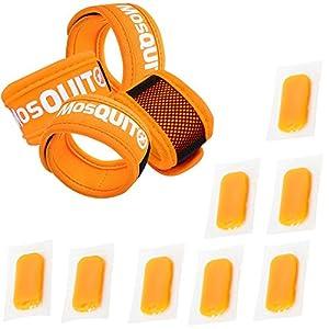 MosQuitO Repellent Reusable Bracelet (4 Pcs) & Refills (8 Pcs) - Premium Quality - 100% Pure Natural Essence Oil - DEET FREE - Ideal for Adults & Kids