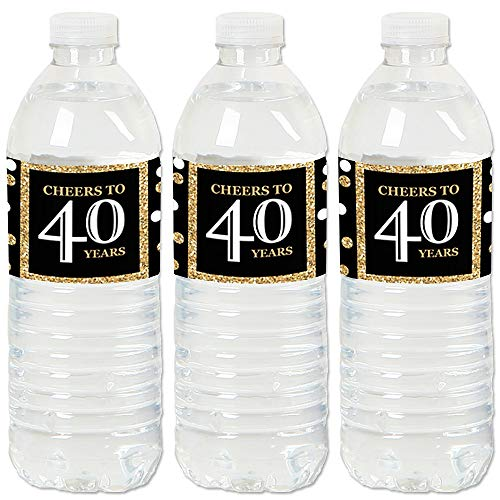 Adult 40th Birthday - Gold - Birthday Party Water Bottle Sticker Labels - Set of ()