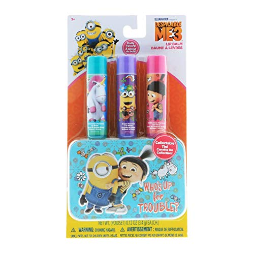 KidPlay Products Despicable Me Minions Girls Lip Balm 3pk with Collectible Carry -