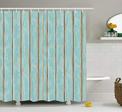 Lunarable Wood Print Shower Curtain, Old Fashioned Weathered Rustic Planks Summer Cottage Beach Coastal Theme, Cloth Fabric Bathroom Decor Set with Hooks, 84 Inches Extra Long, Pale Blue Tan (Colors Paint Coastal Cottage)
