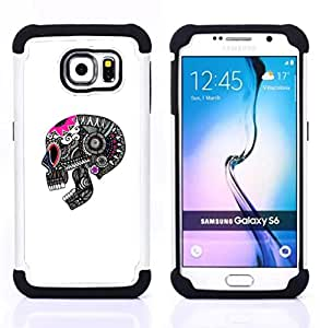 For Samsung Galaxy S6 G9200 - SKULL DEATH GREY PINK WHITE PATTERN Dual Layer caso de Shell HUELGA Impacto pata de cabra con im??genes gr??ficas Steam - Funny Shop -