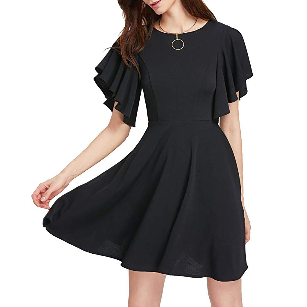 ZOMUSAR 2019 Fashion Women Casual Stretchy A Line Swing Flared Skater Cocktail Beach Party Dress Black