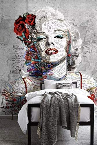 Murwall Pop Art Wallpaper Marilyn Monroe Wall Mural Typographie Wall Decor Artistic Wall Art Modern Cafe Design Living Room Entryway