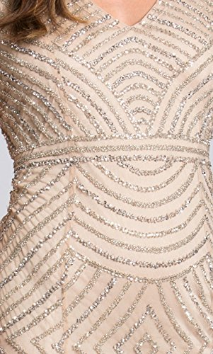 Cocktail Perline Abito Terra Abito Corto 33608 Champagne Lara AwqzUUtn8