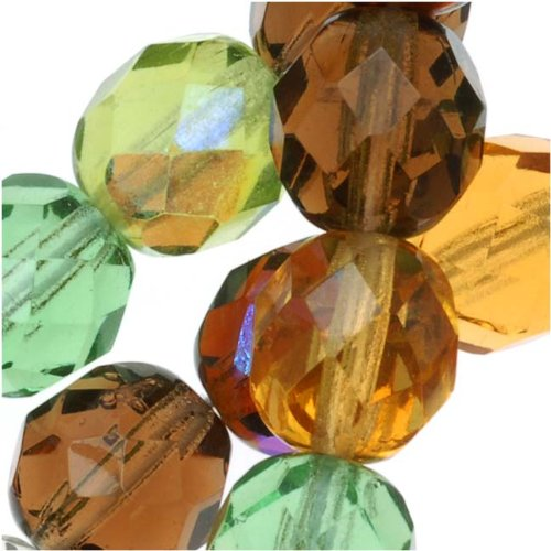 Jablonex BCP-3879 50 Piece Round 'Earth Tones Green Brown Amber Mix' Czech Fire Polish Glass Beads, 8mm