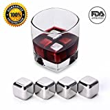 Whiskey Stones by Wuudi -Stainless Steel Reusable Wine Cooling Cubes with Ice Tongs, Whiskey Chilling Rocks, Whisky Ice Stones and Sipping Stones,Set of 4-8 (4 pieces)