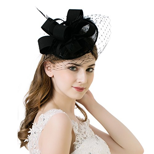 [AWAYTR Women Fascinator Hat Fashion Sinamay Derby Church Hat Fancy Feather Headwear (Black)] (Hats & Fascinators Online)