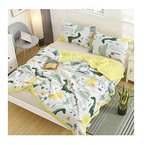KFZ Dinosaurs Print White Full/Queen Comforter Set-Super Soft 100% Washed Cotton Cover Filled with High-Grade Microfiber- Hypoallergenic and Safe Kids Bedding Set (1 Duvet + 2 Pillowcases)